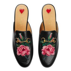 Gucci Rose Embroidered Princetown Horsebit Mules